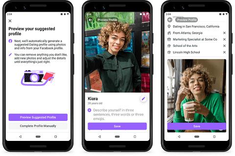 Facebook Dating drei Bilder der App. zwei davon von einem weiblichen profil, das kaffee trinkt und ein selfie nimmt.