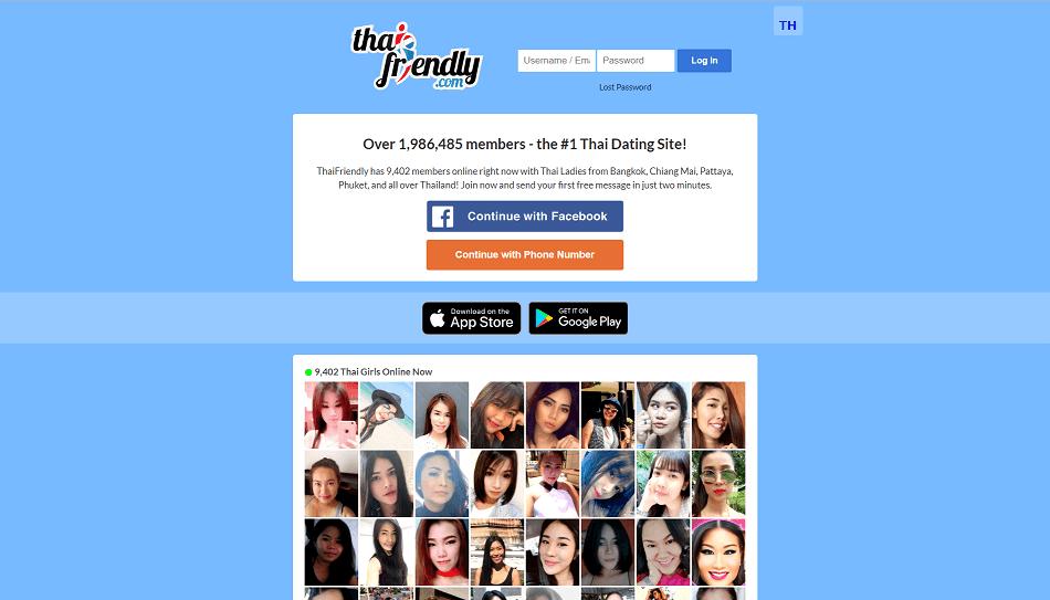 landing page von thai friendly.com, Überblick über Single Thai Frauen online