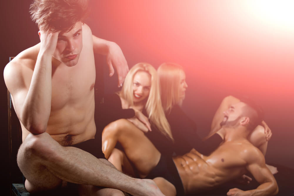 Two hot couples having fun together. Guys are topless and women have black tight clothes on