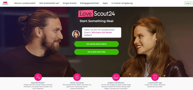 LoveScout24 Startseite, Singles auf Date lächeln sich an