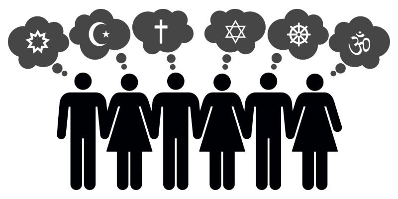 Grafik von Menschen verschiedener religiöse Konfession
