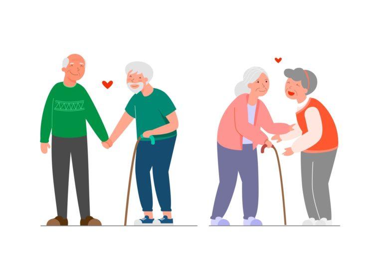 Ein Cartoon-Bild von schwulen und lesbischen Seniorenpaaren, die sich glücklich an den Händen halten.