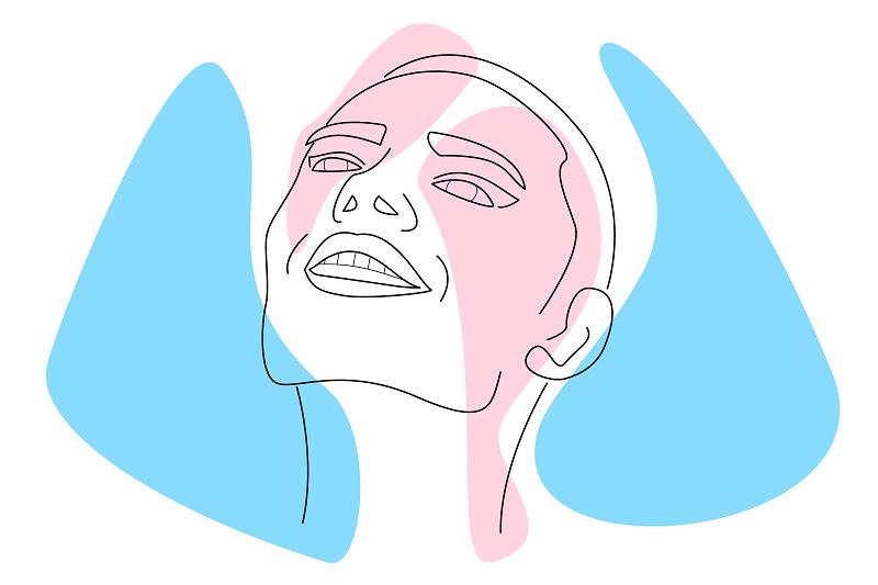 Vector image of a happy trans person