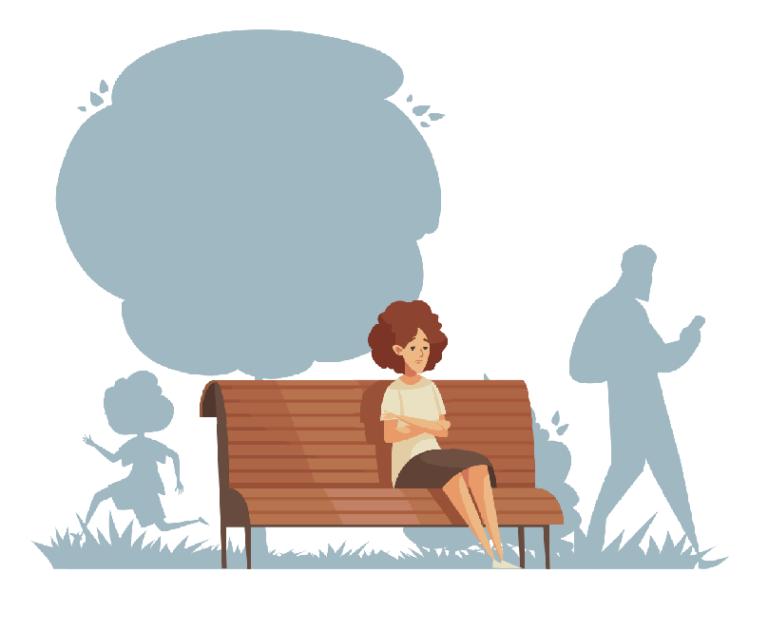Einsame Frau wartet auf einer Bank
