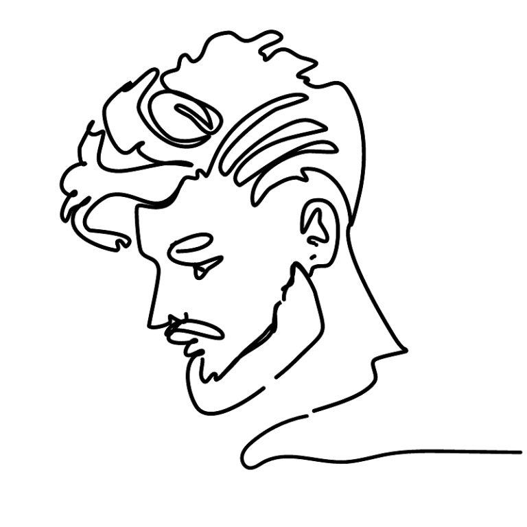 Schwarzstrich-Profilzeichnung eines Ghost-Fuckboys