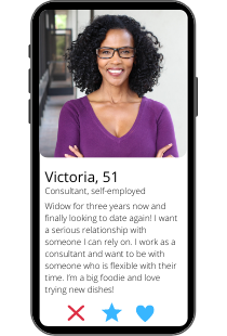 Dating-Profil Beispiel von Victoria auf einem Smartphone