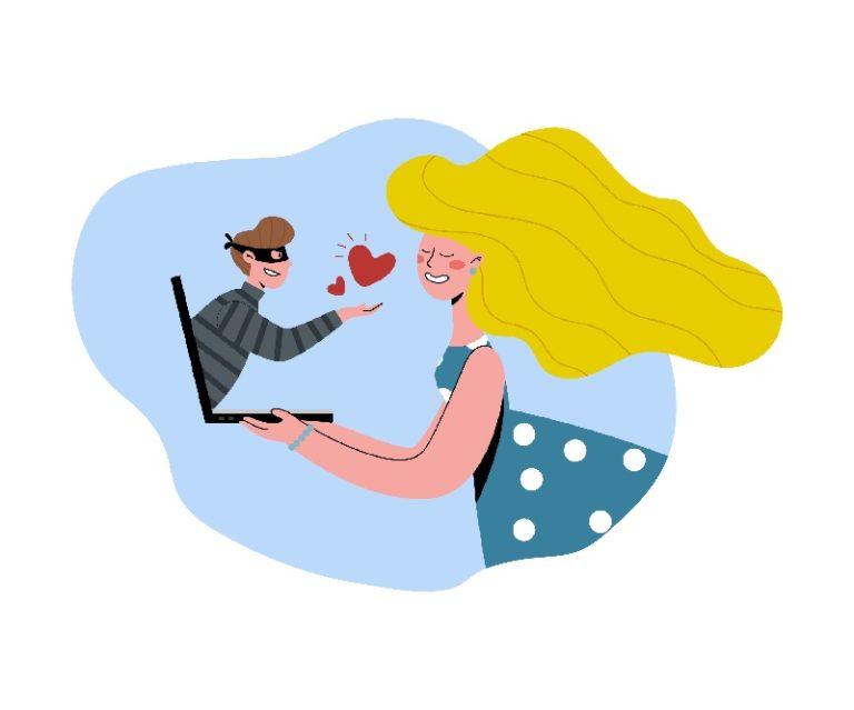 Catfisher zeigt falsche Zuneigung zu einer Frau