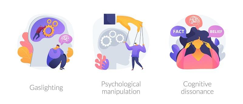 3 Bilder, die Gaslighting, psychologische Manipulation und kognitive Dissonanz darstellen