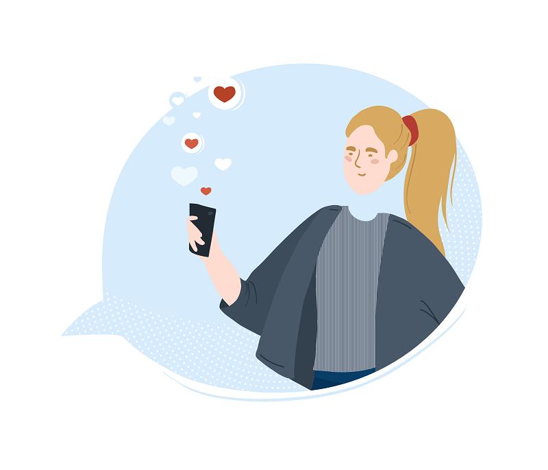 Grafik einer Frau, die Liebesbotschaften empfängt