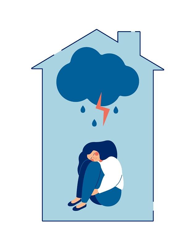 traumatisierte einsame Frau zu Hause