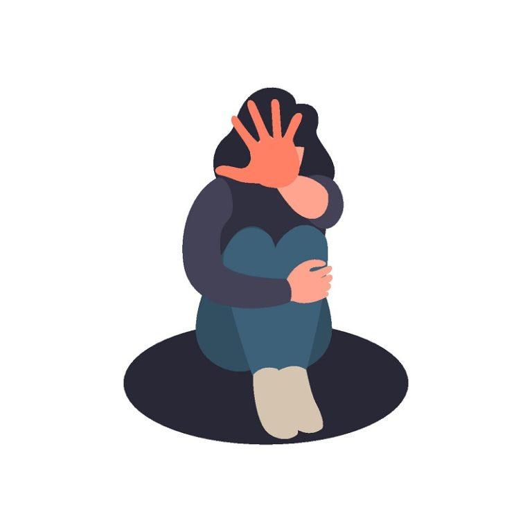 Frau hält Hand hoch, um Missbrauch zu stoppen