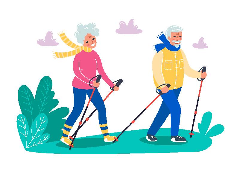 Vektorgrafik eines über 50-jährigen Paares beim Wandern