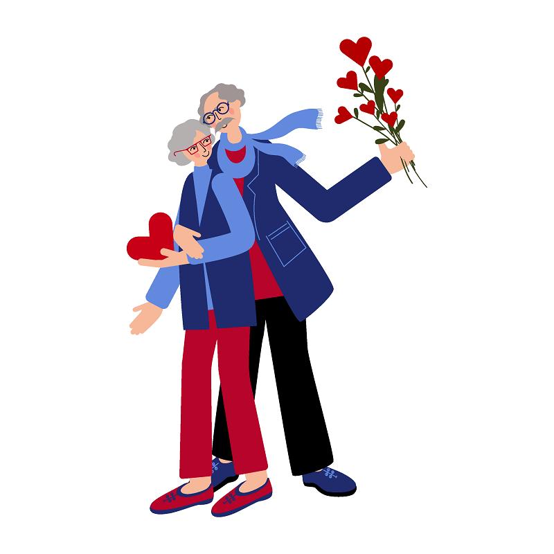 eine Vektorgrafik von einem älteren Paar, das Blumen hält