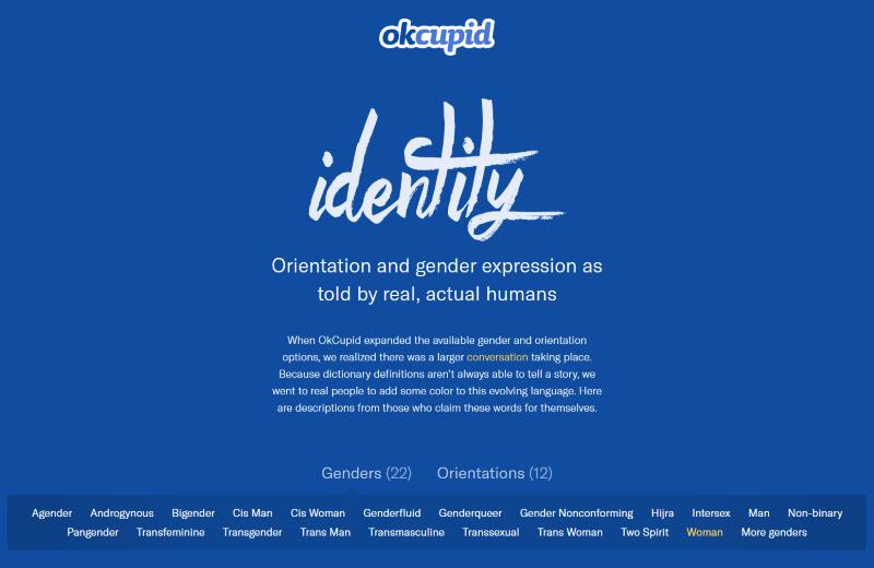 Screenshot von OkCupid's Geschlechtsidentitätsoptionen