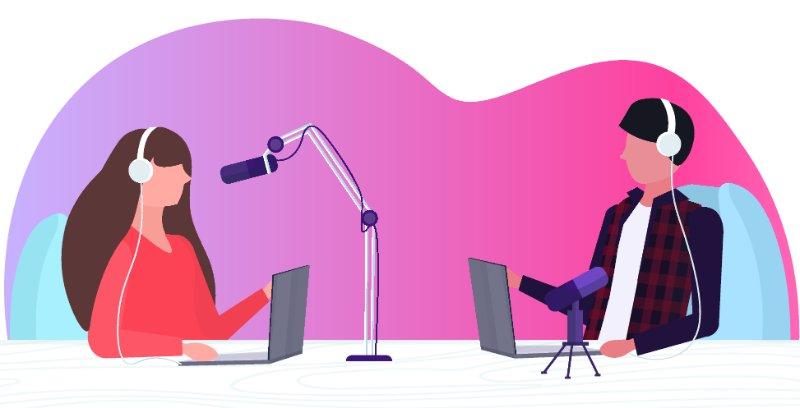 Vektorgrafik von einer Frau und einem Mann die einen Podcast aufnehmen