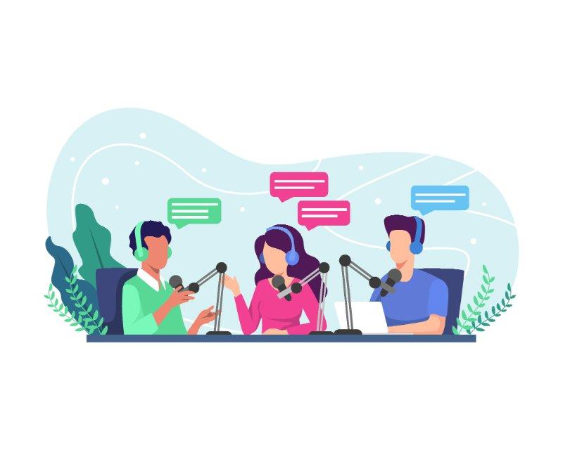 Vektorgrafik von Personen, die sich gegenseitig im Gespräch aufnehmen