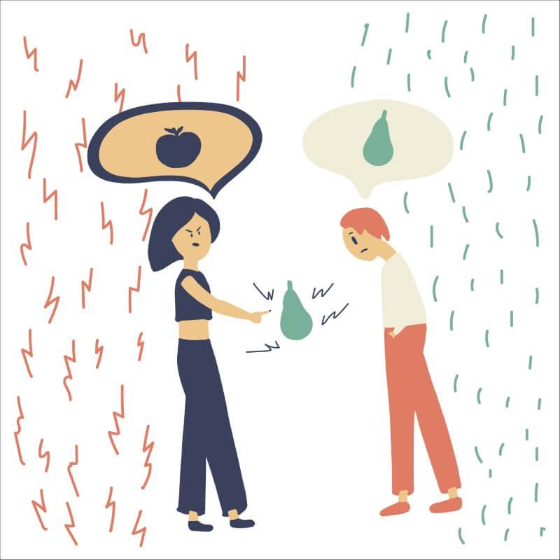 Illustration einer Person, die eine andere Person gaslightet und manipuliert