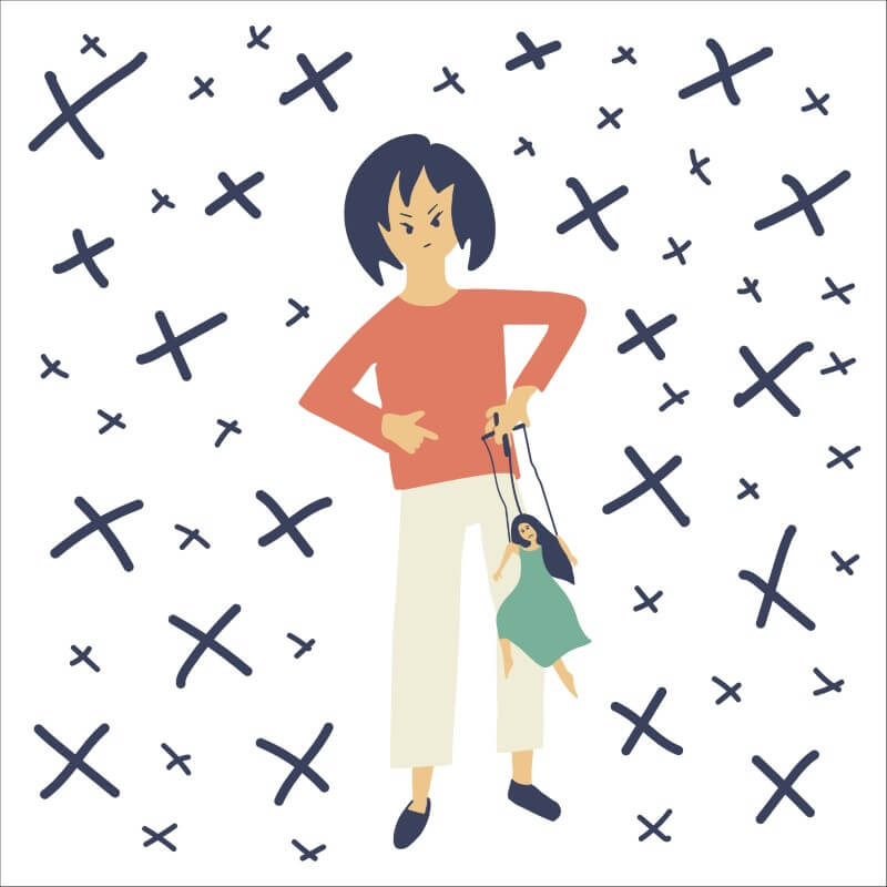 Illustration einer Person, die eine Frau als Marionette benutzt