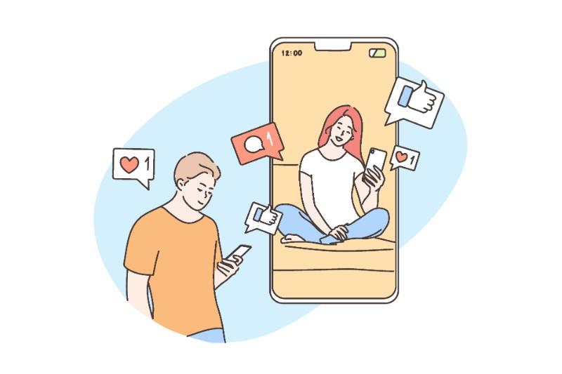 Vektorgrafik eines Mannes, der einer Frau online antwortet