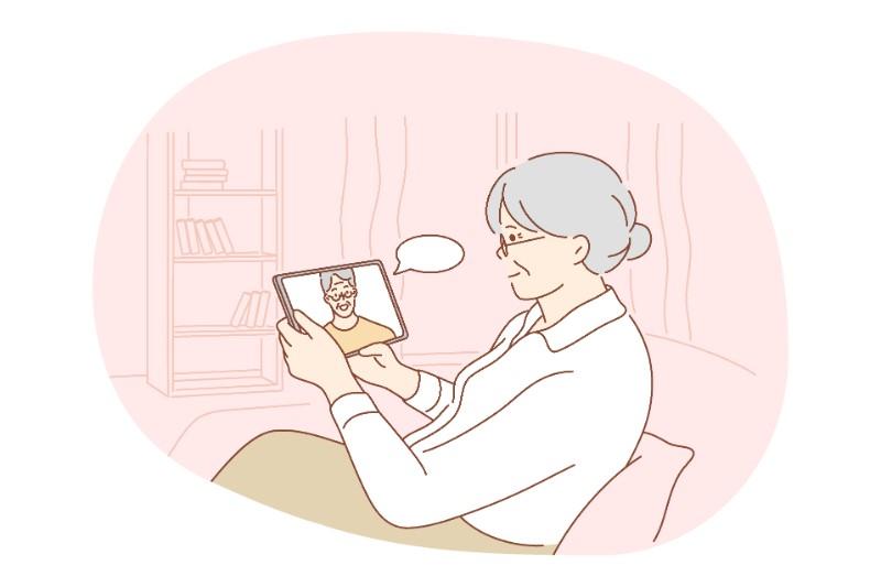 Vektorgrafik eines Senioren, der sich online verabredet