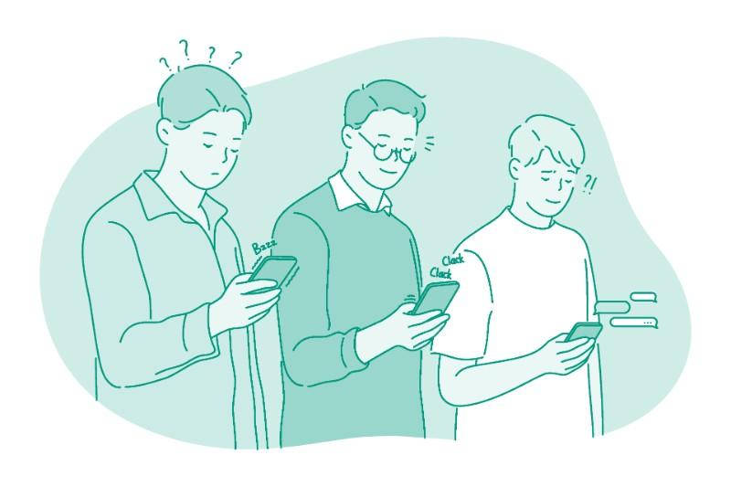 Vektorgrafik von drei Männern mit Smartphones