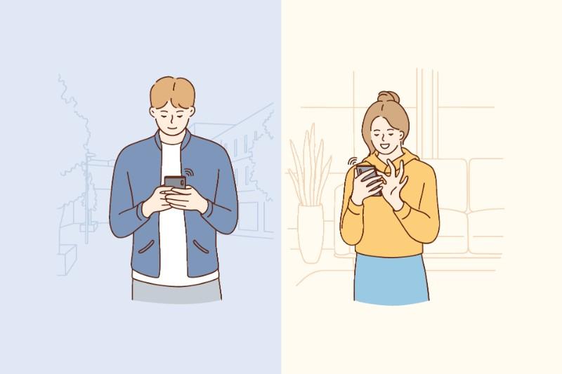 Vektorgrafik eines Paares, das sich gegenseitig Nachrichten schickt