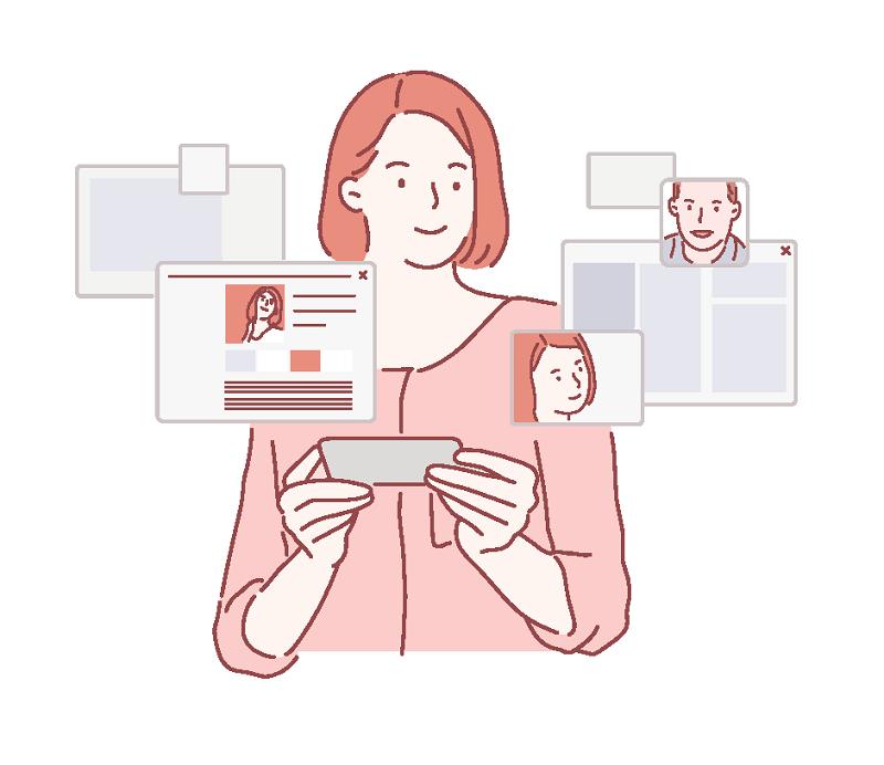Vektorgrafik einer Frau, die ein Dating-Profil erstellt