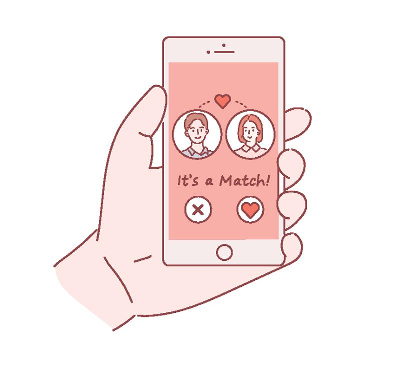 Vektorgrafik einer Frau und eines Mannes, die online matchen