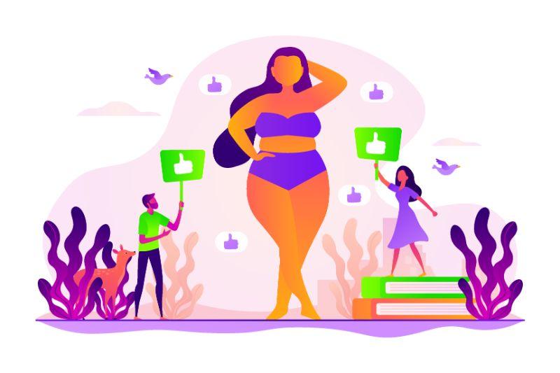 Body-positive Bild einer Frau die bekommen Komplimente bekommt, Vektor-Grafik