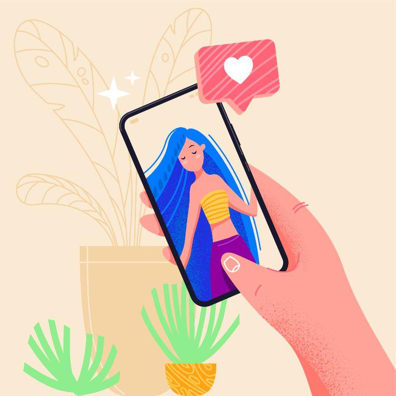 Vektor Grafik einer Person die auf ihrem Smartphone mit einer Frau flirtet