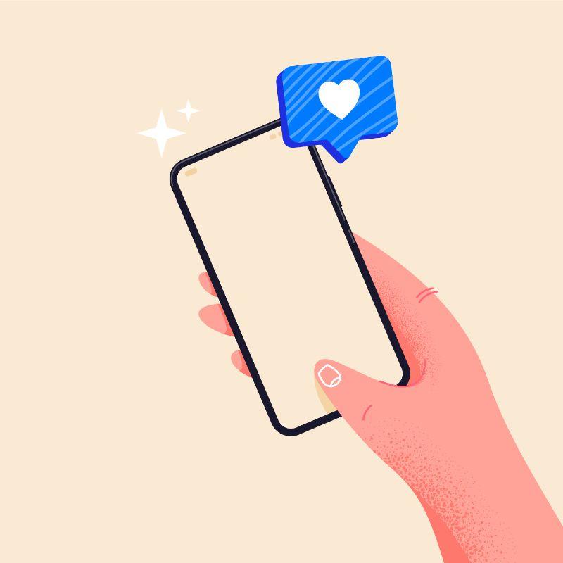 Illustration einer Hand, die ein Telefon hält auf dem eine Herznachricht ankommt