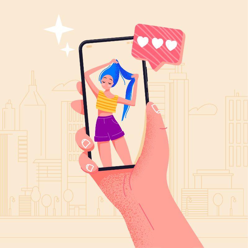 Vektor Grafik von einer Person, die eine Frau auf ihrem Smartphone-Bildschirm anschaut