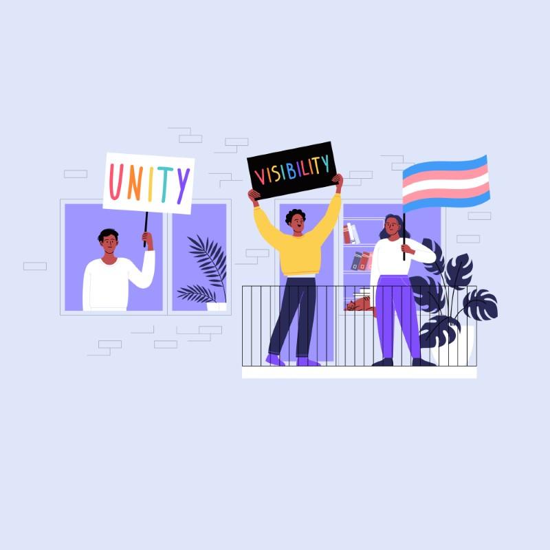 Grafik von drei farbigen queeren Menschen mit Protestschildern