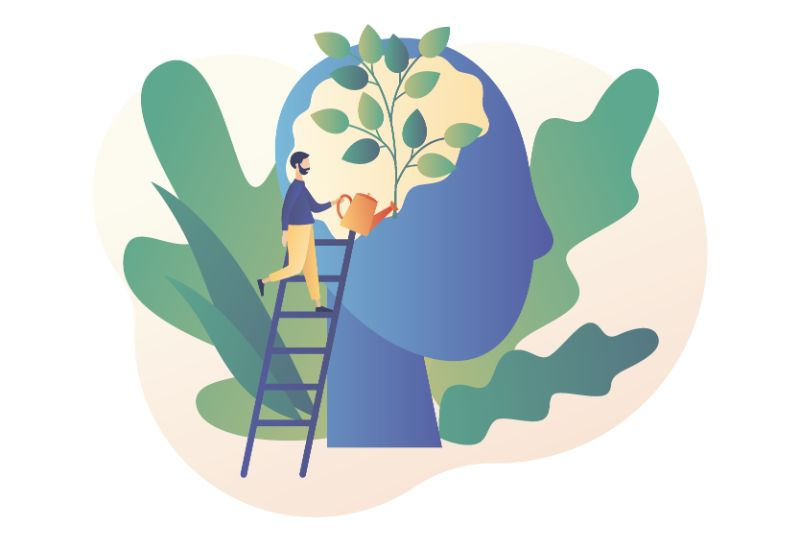 Vektorgrafik eines Mannes, der sein Selbstvertrauen verbessert, dargestellt durch das Gießen einer Pflanze im Kopf einer Person