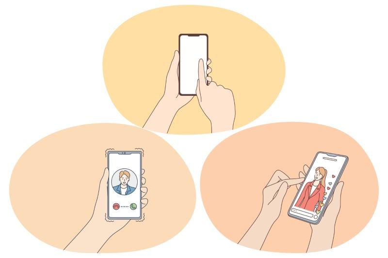 verschiedene Illustrationen von Menschen, die sich über ihr Telefon verabreden