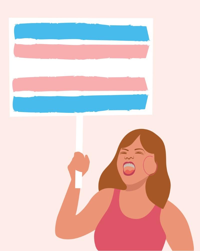 Illustration einer weiblichen Person, die für Trans-Rechte protestiert