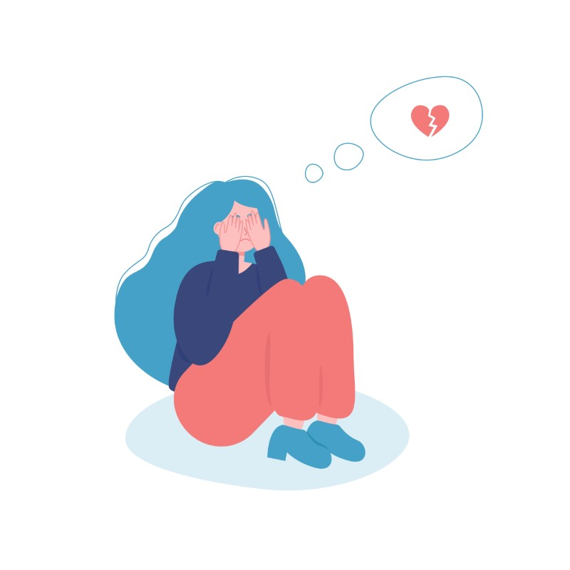 Illustration eines Mädchens, das wegen eines gebrochenen Herzens weint