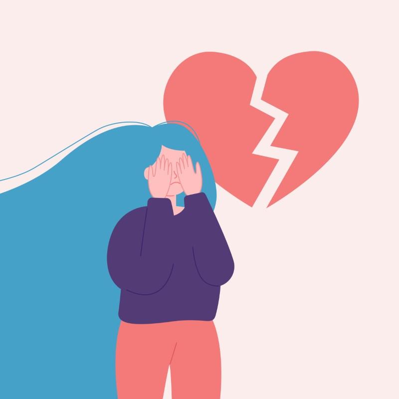 Illustration eines Mädchens mit gebrochenem Herzen, das ihr Gesicht hinter ihren Händen versteckt
