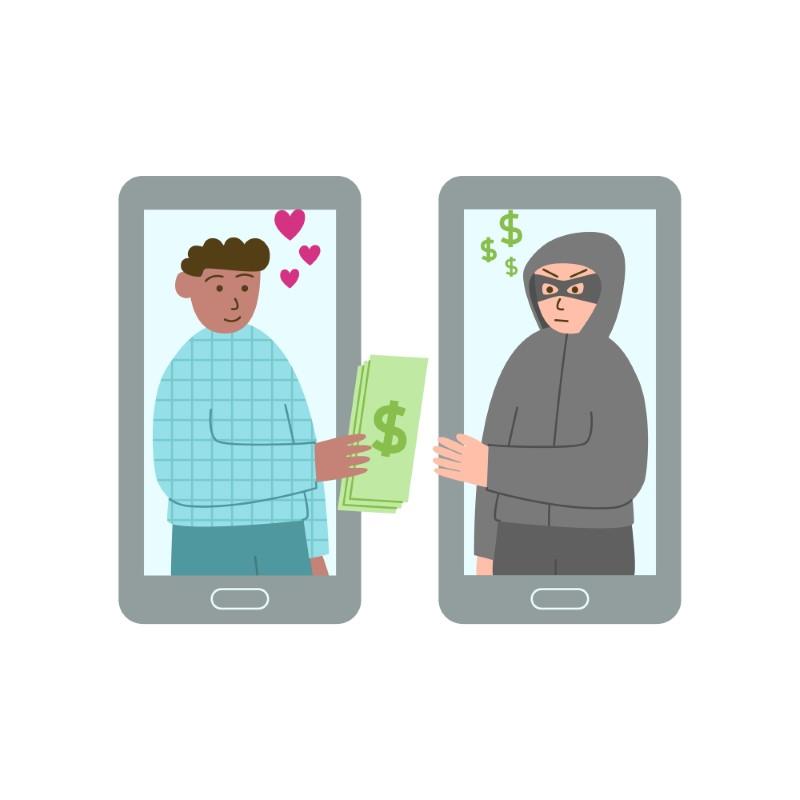 Abbildung eines verliebten Mannes, der einem Betrüger sein Geld gibt