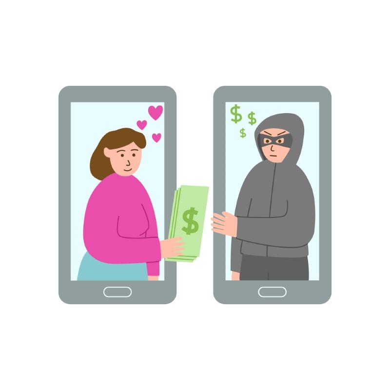 Abbildung einer verliebten Frau, die ihr Geld an einen Online-Betrüger gibt