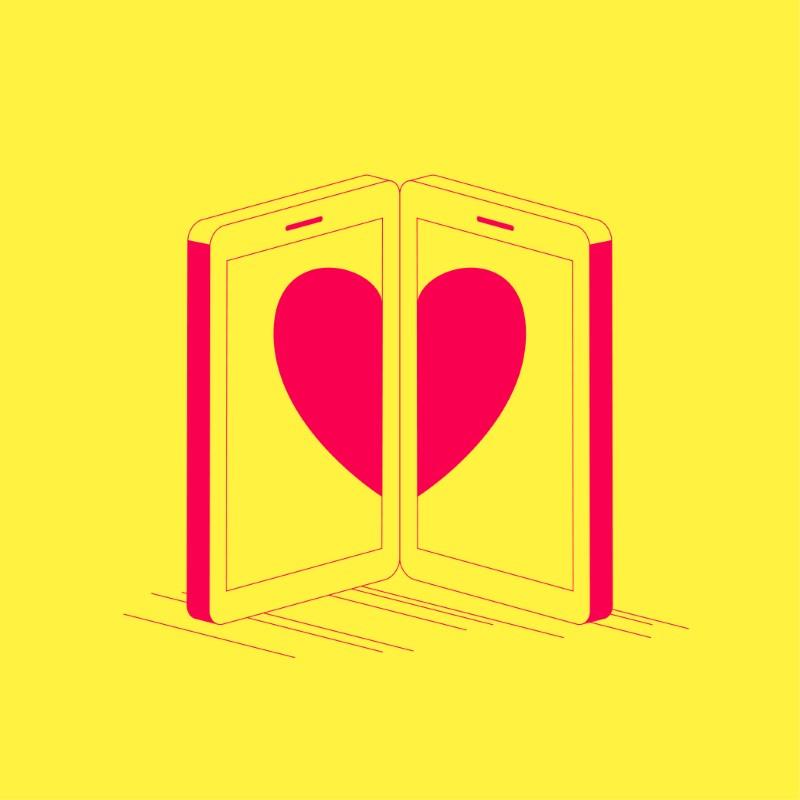 Illustration von zwei Telefonen, die jeweils ein halbes Herz zeigen
