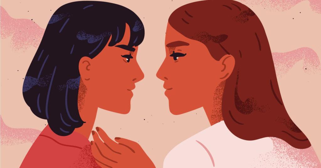 zwei illustrierte lesbische Frauen, die sich gegenseitig in die Augen schauen
