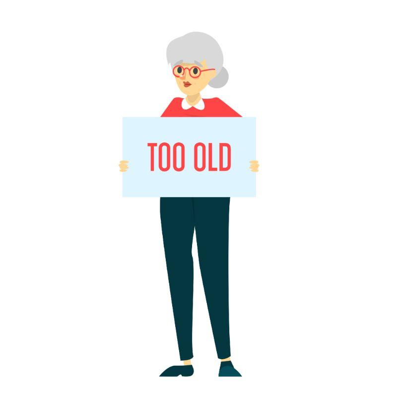 """Vektorgrafik einer älteren Frau, die ein Schild mit der Aufschrift """"zu alt"""" hält"""