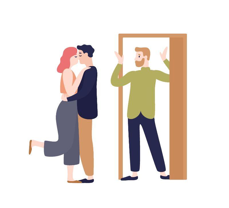 Vektorgrafik eines Paares, das sich küsst und einem zweiten Mann, der sie überrascht ansieht