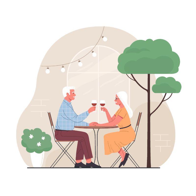 Vektorgrafik von zwei Senioren bei einem Date, die Wein trinken