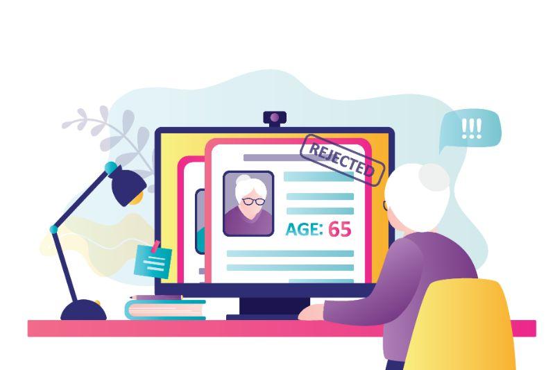 Vektorgrafik einer älteren Dame, deren Profil online abgelehnt wird
