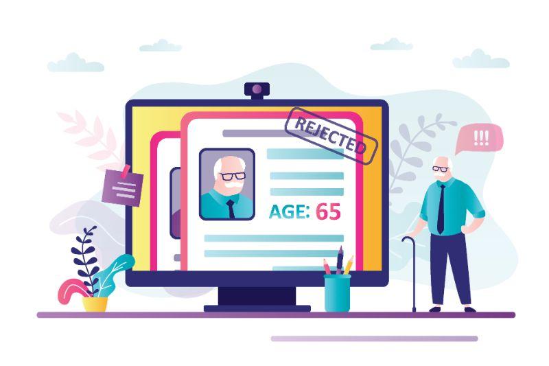 Vektorgrafik eines älteren Mannes, der sieht, dass sein Profil online abgelehnt wurde