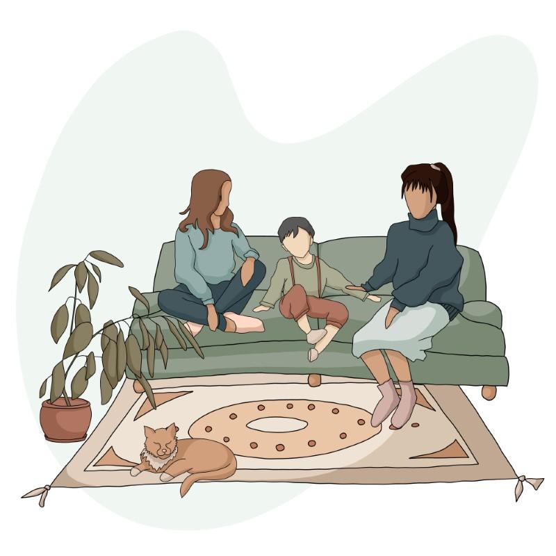Vektorgrafik von zwei Müttern und ihrem Kind, die auf einem Sofa sitzen, während ihre Katze auf dem Teppich liegt