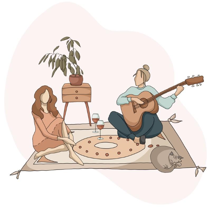 Vektorgrafik von zwei Frauen, die auf einem Teppich sitzen und Wein trinken, während eine von ihnen Gitarre spielt