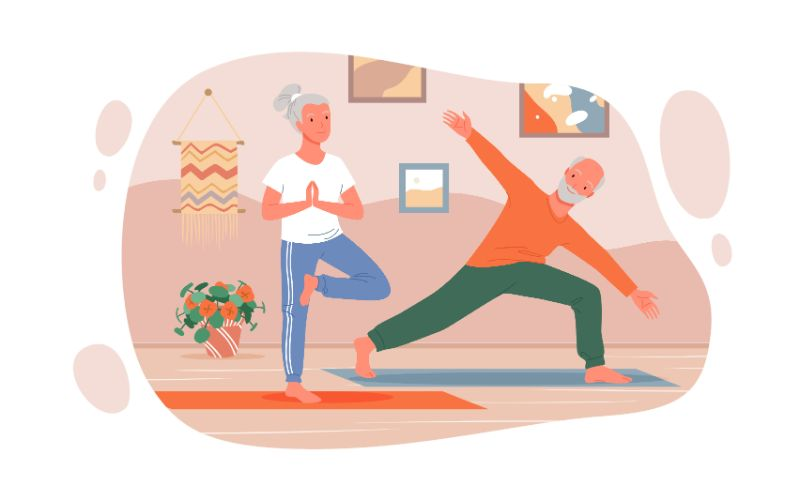 Vektorgrafik von zwei Senioren, die zusammen Yoga machen